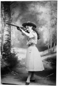 An old picture of Annie Oakley the Cowboy, wearing a wetern hat