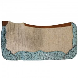 Felt Saddle Pad with Turquoise Leather Wear