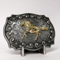 Gold Horse Running Belt Buckle
