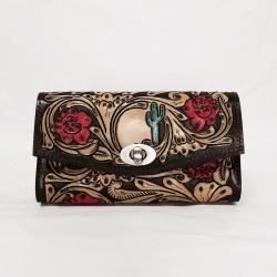 Cactus Rose Leather Purse