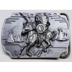 Indian on Horse Antiqued Belt Buckle